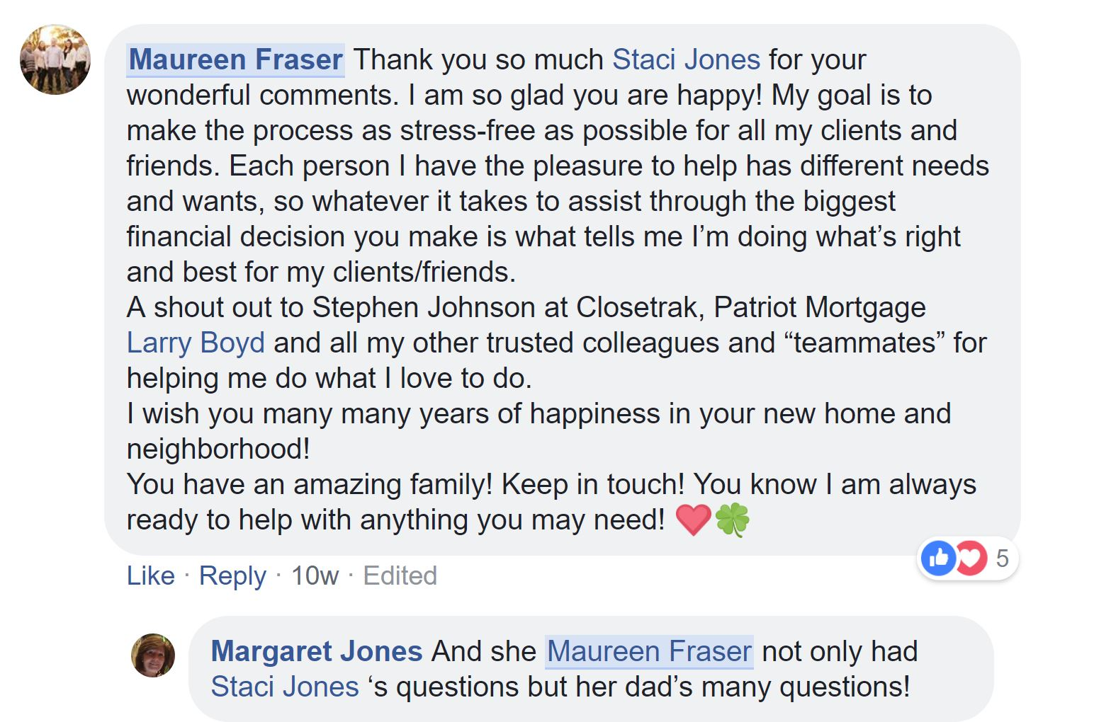 Maureen reply to Staci Jones review